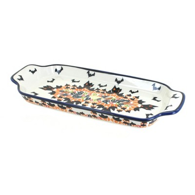 Blue Rose Polish Pottery Haunted House Bread Tray with Handles