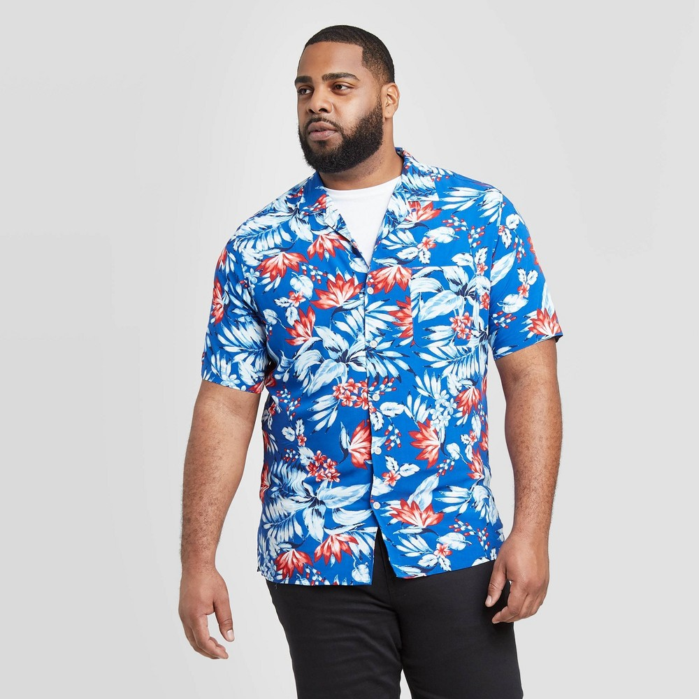 Men's Tall Floral Print Standard Fit Short Sleeve Button-Down Camp Shirt - Goodfellow & Co Blue MT was $19.99 now $12.0 (40.0% off)