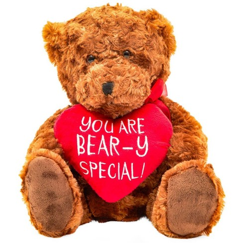 "10"" Teddy Bear Stuffed Animal with Red Heart, Valentine's Day Plush Toy Gift - image 1 of 2"