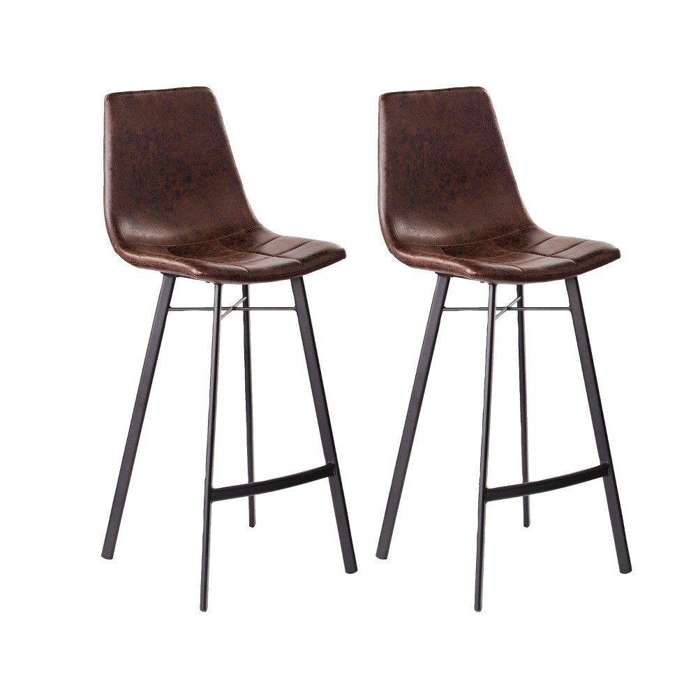 Wondrous Set Of 2 Reece Faux Leather Barstools Brown Aiden Lane Dailytribune Chair Design For Home Dailytribuneorg