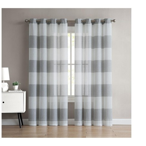 VCNY Home August Semi Sheer Striped Curtain Panel - image 1 of 3