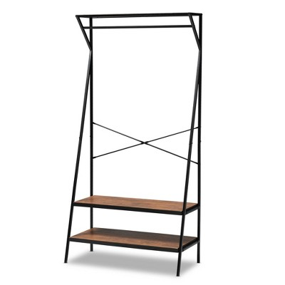 Laima Distressed Wood and Metal Finished Entryway Coat Hanger Brown/Black - Baxton Studio