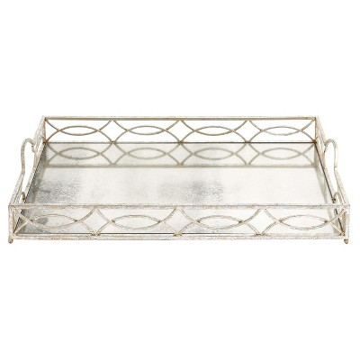 "Modern Reflections Rustic Iron Tray (25"") - Olivia & May"
