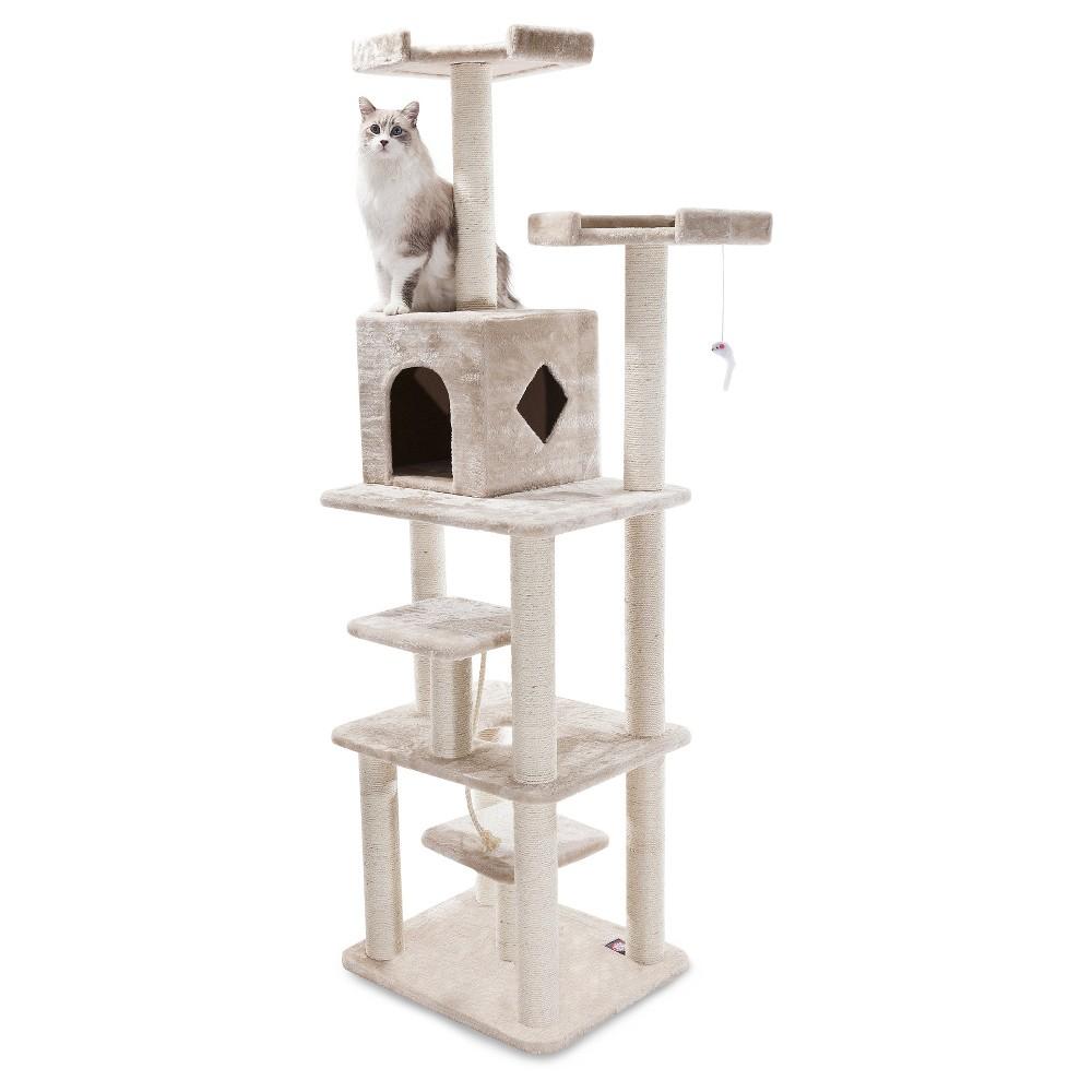 Majestic Pet Casita Faux Fur Activity Center Cat Scratcher Honey 78 in