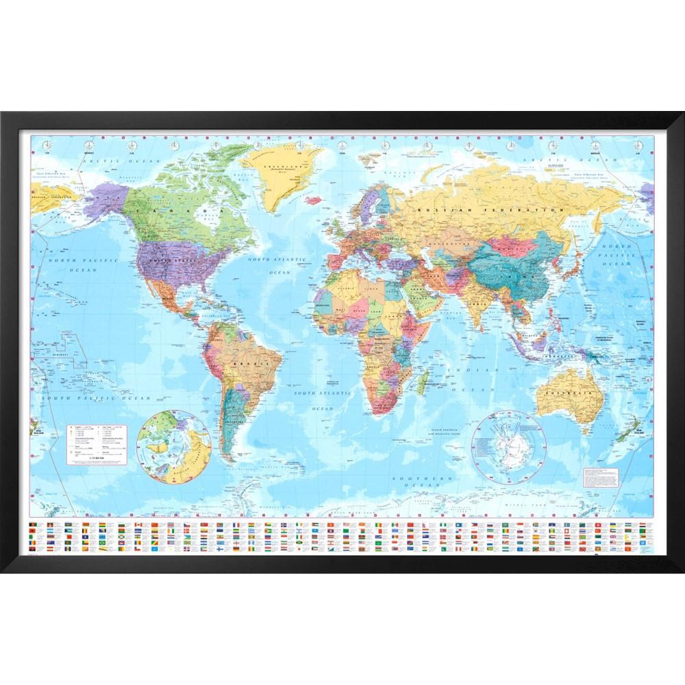 Art.com - World Map Framed Poster
