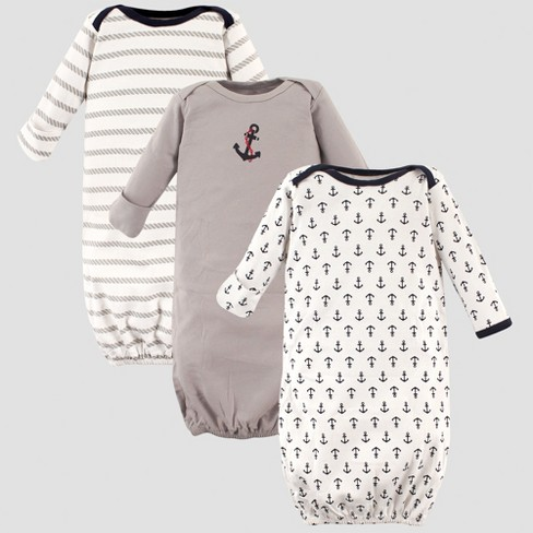 Luvable Friends Baby Boys' 3pk Gowns, Anchor - Blue 0-6M - image 1 of 1