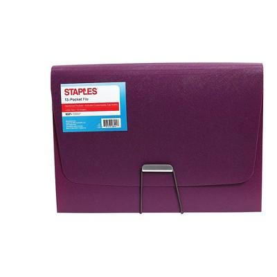 Staples Plastic 13 Pocket Reinforced Expanding Folder Letter Size Purple TR52015/52015