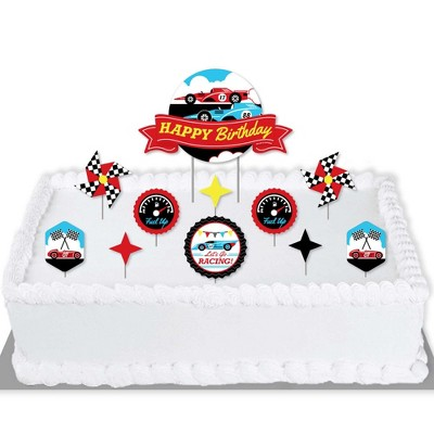 Big Dot of Happiness Let's Go Racing - Racecar - Race Car Birthday Party Cake Decorating Kit - Happy Birthday Cake Topper Set - 11 Pieces