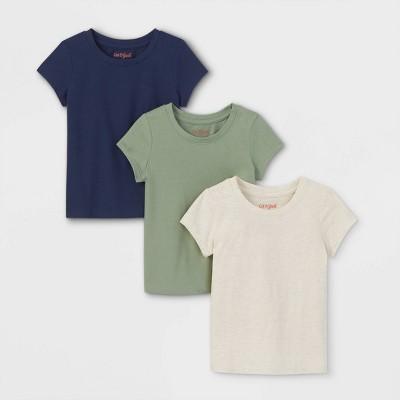 Toddler Girls' 3pk Short Sleeve T-Shirt - Cat & Jack™ Olive Green/Navy/Cream