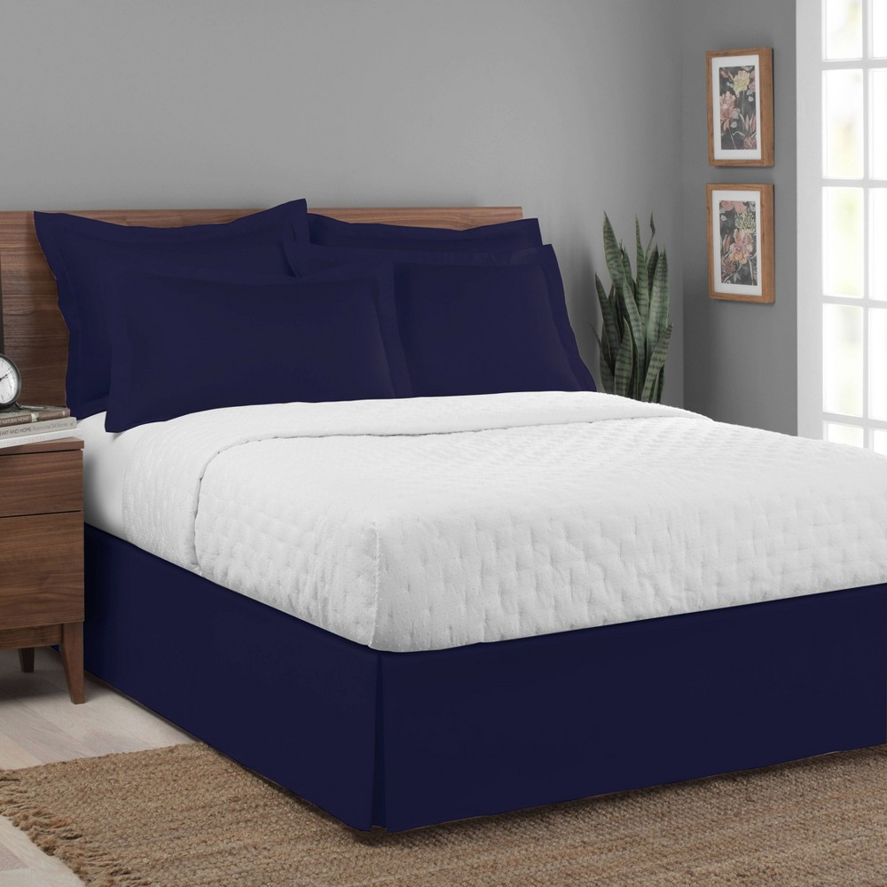 Image of Luxury Hotel California King Classic Tailored Bed Skirt Navy