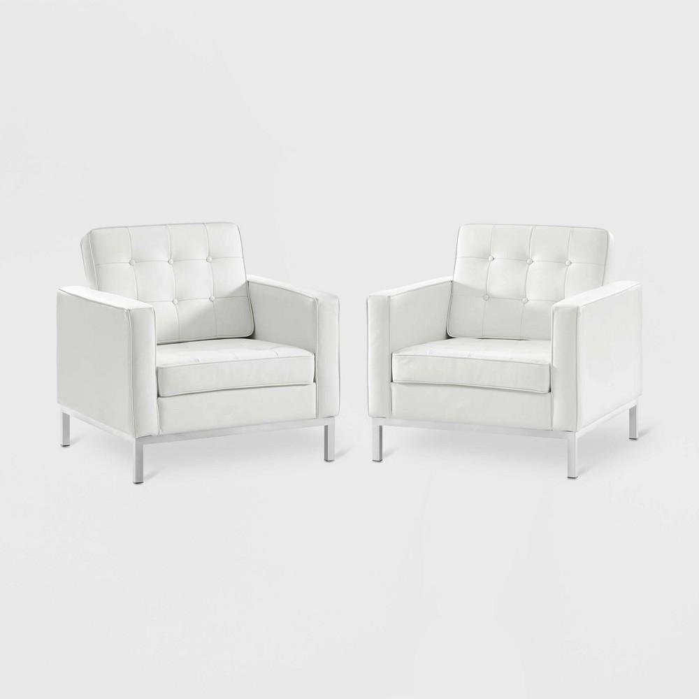 2pc Loft Leather Armchair Set White - Modway