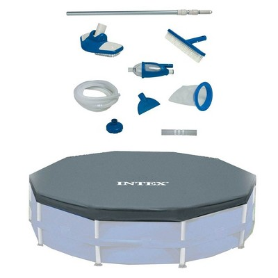 Intex Deluxe Maintenance Cleaning Kit & 12-Foot Round Frame Easy Set Pool Cover