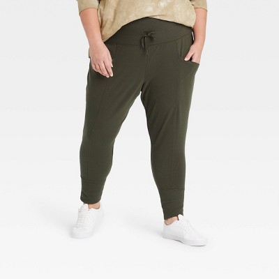 """Women's High-Rise Ribbed Jogger Pants 25.5"""" - All in Motion™"""