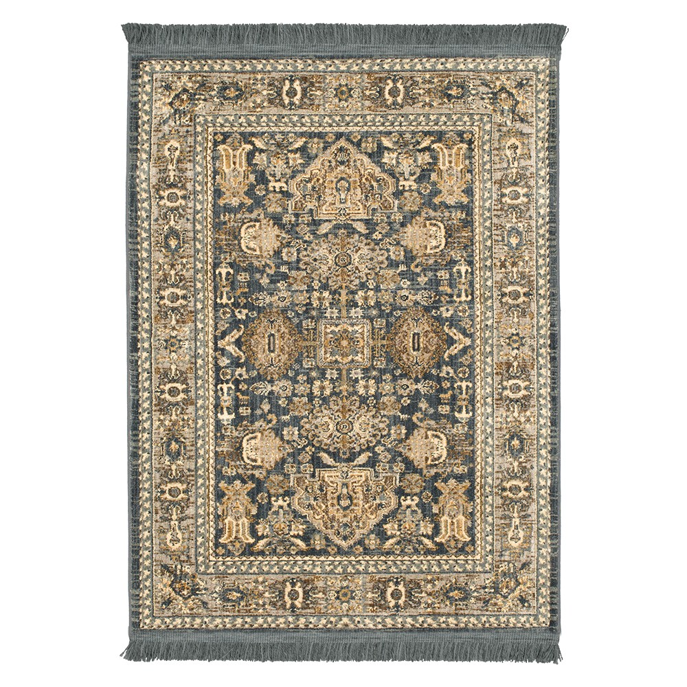 Floral Woven Area Rug Blue