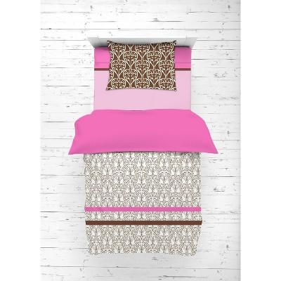 Bacati - Damask Pink Fuschia Chocolate 4 pc Toddler Bedding Set