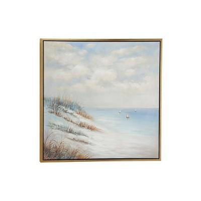 "39.5"" x 39.5"" Large Square Acrylic Painting of B and Sailboats Coastal Artwork in Wood Frame - Olivia & May"