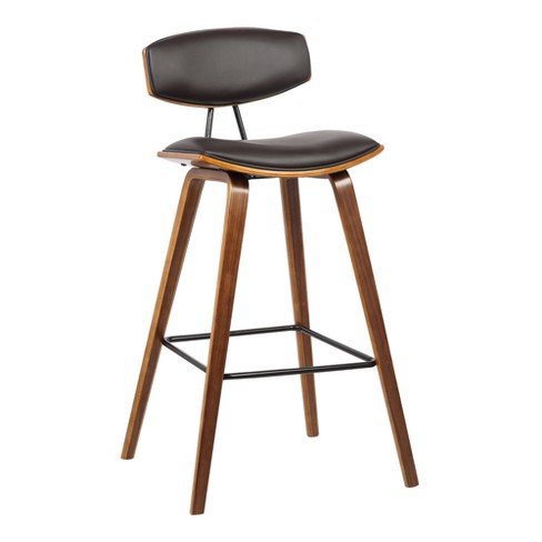 Phenomenal 26 Fox Mid Century Counter Height Barstool In Brown Faux Leather With Walnut Wood Armen Living Machost Co Dining Chair Design Ideas Machostcouk