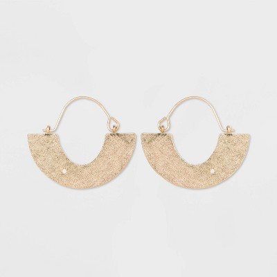 Flat Half Circle Brass and in Worn Gold Hoop Earrings - Universal Thread™ Gold