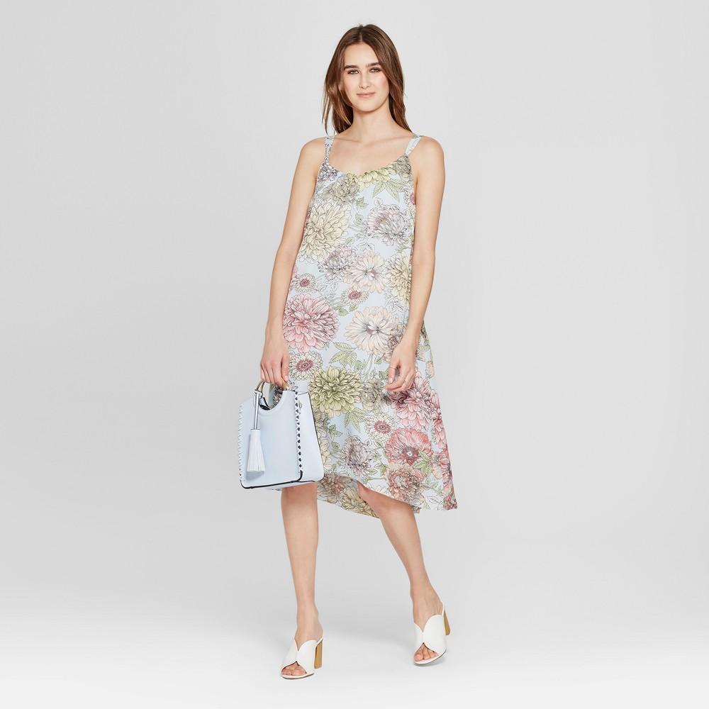 Women's Floral Print Shirred Neck Midi Dress - K by Kersh Blue XS