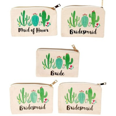 Juvale 5 Pack Canvas Comestic Makeup Bags, Bridal Shower Pouches for Bachelorette Party Gifts, Jewelry Storage Bags with Cactus Design