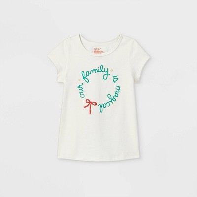 Toddler Girls' Adaptive Christmas 'Our Family' Long Sleeve Graphic T-Shirt - Cat & Jack™ Cream