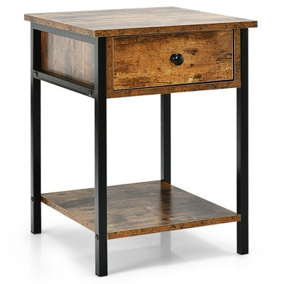 Costway Industrial End Side Table Nightstand with Drawer Shelf Rustic Brown
