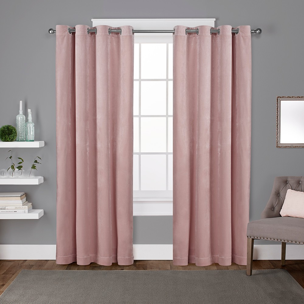 Velvet Heavyweight Grommet Top Window Curtain Panel Pair Blush Pink 54X84 - Exclusive Home
