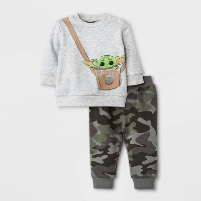 Baby Boys' 2pc Star Wars Baby Yoda Fleece Pullover and Jogger Set - Heather Gray 3-6M