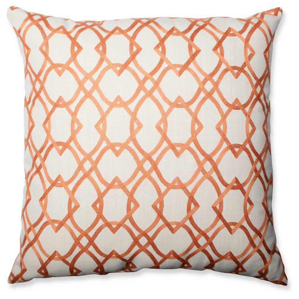 Green Forget Me Knots Tangerine Floor Throw Pillow Orange Throw (24.5