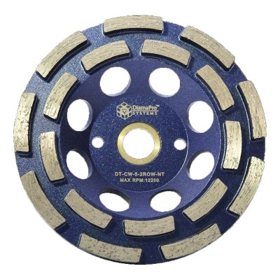 DiamaPro Systems DT-CW-5-2ROW-NT Non Threaded 5 Inch Double Row Diamond Abrasive Concrete Grinding Cup Wheel for Drains, Preparation, Coating Removal