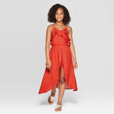 Girls' Walk-Through Ruffle Top Dress - art class™ Maroon M - image 1 of 3