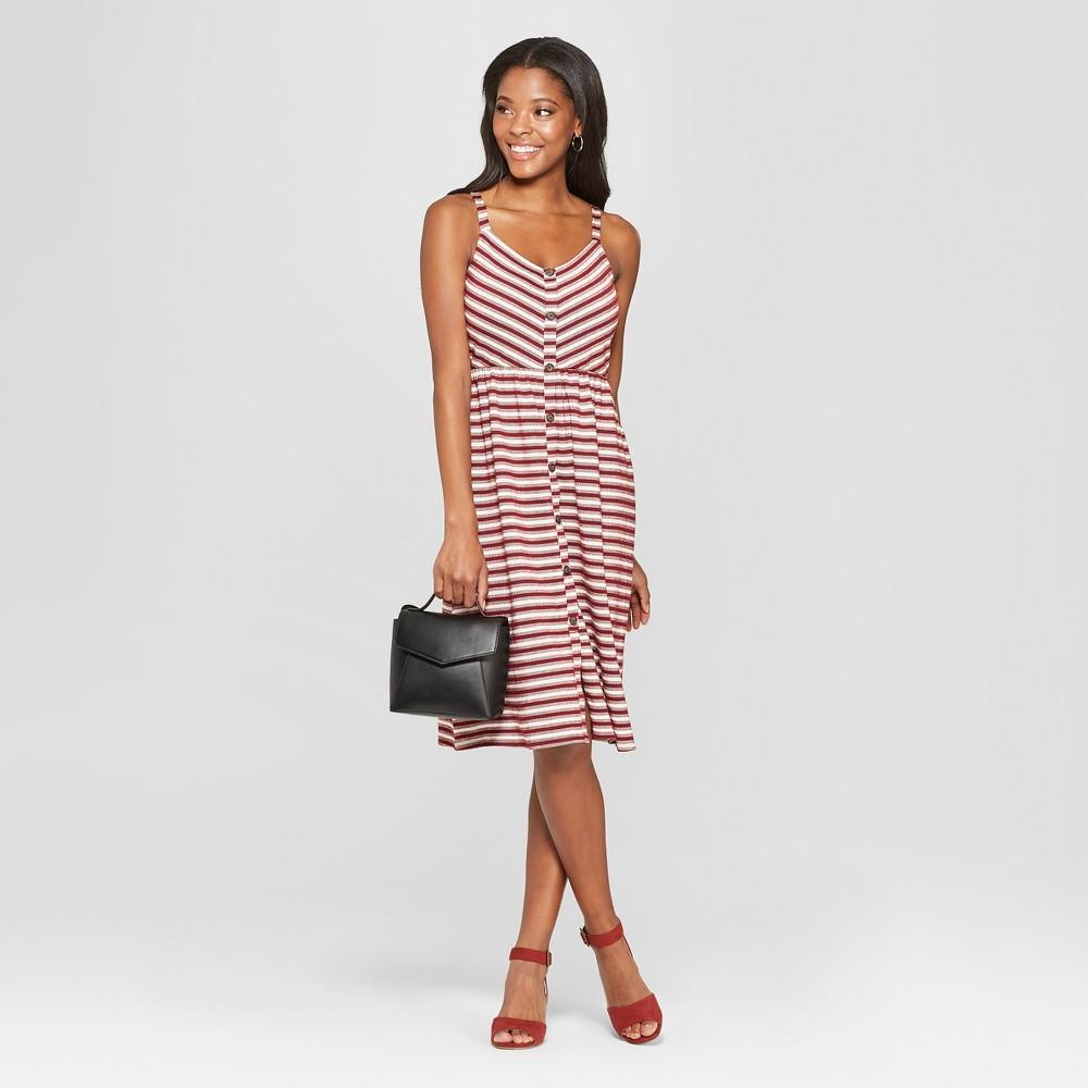 Women's Striped Strappy Button Front Knit Midi Dress - Xhilaration Wine (Red) XS