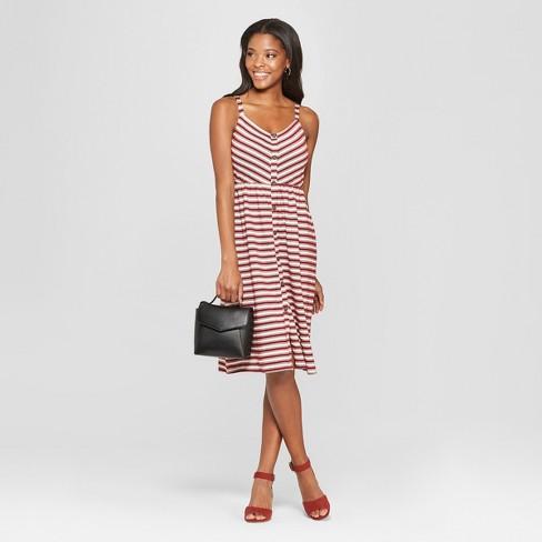 7e23c706fa14 Women s Striped Strappy Button Front Knit Midi Dress - Xhilaration ...