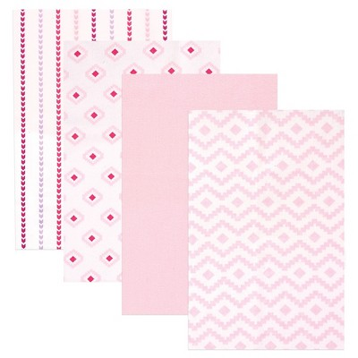 Hudson Baby Flannel Receiving Blankets - Pink Modern - 4pk