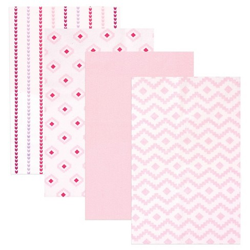 Hudson Baby Flannel Receiving Blankets - Pink Modern - 4pk - image 1 of 2