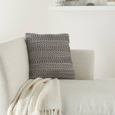 """18""""x18"""" Life Styles Woven Striped Square Throw Pillow Light Gray - Mina Victory"""