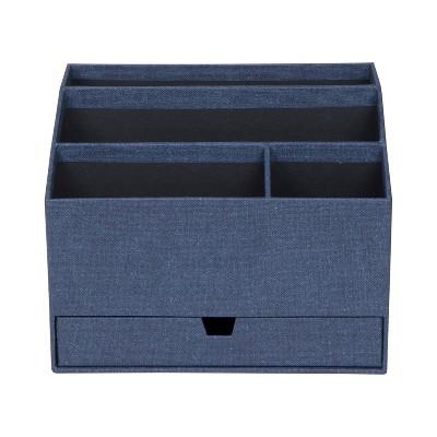 Greta Canvas Desktop Organizer with Supply Drawer Blue - Bigso Box of Sweden