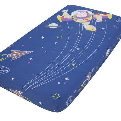 Disney Toy Story Buzz Lightyear Photo Op Fitted Crib Sheet - Blue and Green