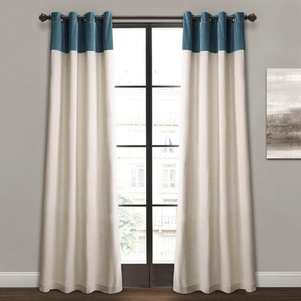"""84""""x52"""" Milo Linen Window Curtain Panels Slate Blue/Off White -Lush Décor"""