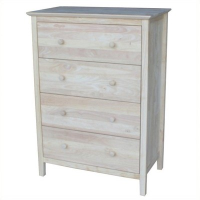 Wood 4-Drawer Chest Gray-Pemberly Row