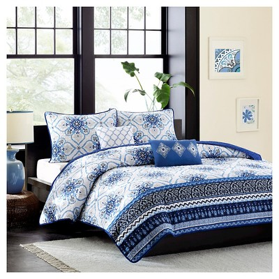 Blue Taylor Quilted Coverlet Set Full/Queen 5pc