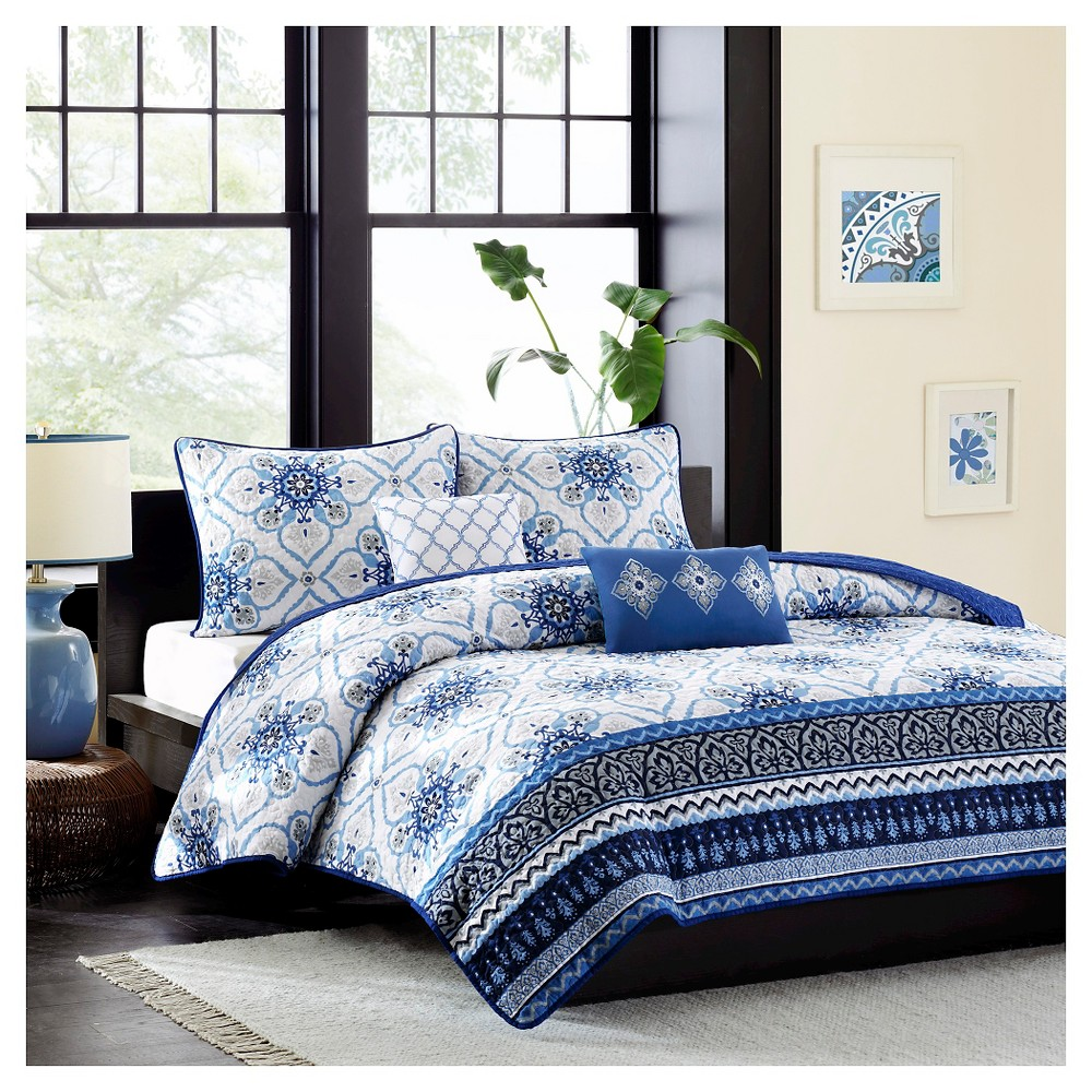 Blue Taylor Quilted Coverlet Set Full Queen 5pc