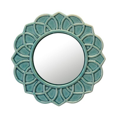 """9"""" Decorative Round Ceramic Wall Hanging Mirror Turquoise - Stonebriar Collection"""