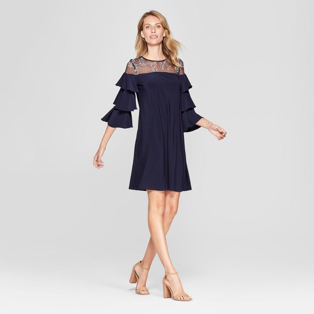 Women's Floral Print Mesh Yoke Shift Dress - Melonie T - Navy 16, Blue