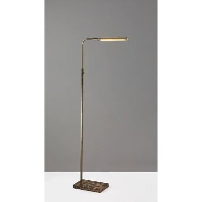 Reader Floor Lamp (Includes LED Light Bulb) Antique Brass - Adesso