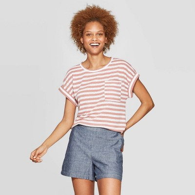 view Women's Striped Regular Fit Short Sleeve Crewneck Linen Cuff T-Shirt - A New day on target.com. Opens in a new tab.