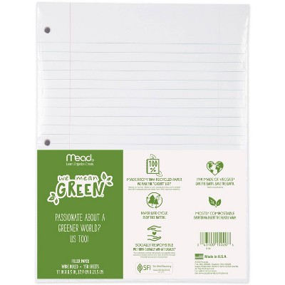 150ct Recycled Loose Leaf Filler Paper Wide Ruled - Mead