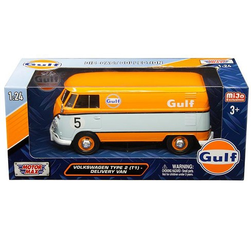 Volkswagen Type 2 T1 Delivery Van 5 Gulf Orange And Light Blue 1 24 Cast Model Car By Motormax Target