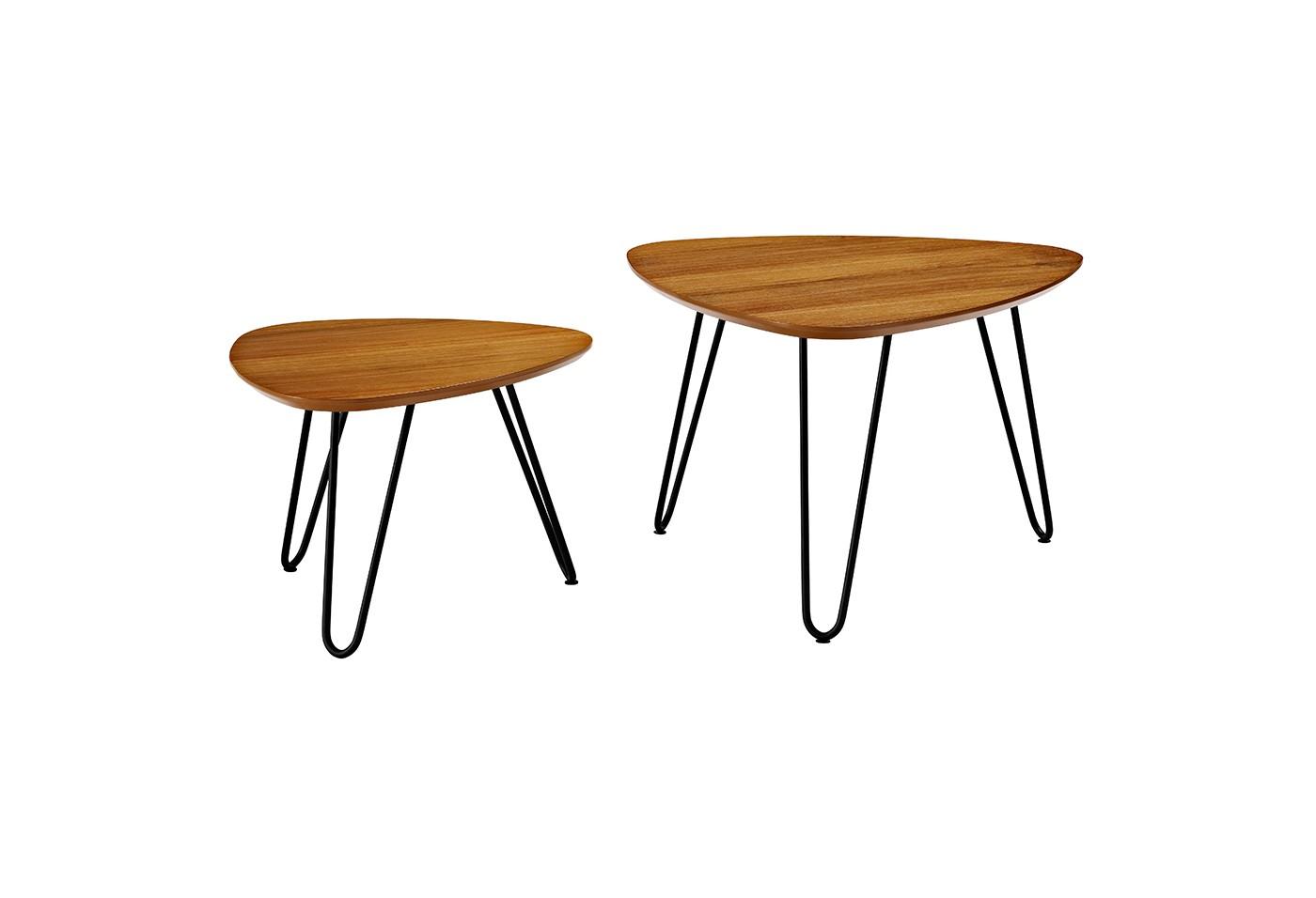 Hairpin Leg Wood Nesting Coffee Table Set - Walnut - Saracina Home - image 2 of 4