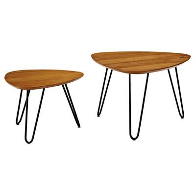 Hairpin Leg Wood Nesting Coffee Table Set   Walnut   Saracina Home : Target
